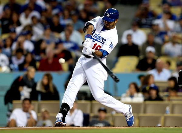 Andre Ethier hits a three-run home run in the first inning against the Miami Marlins.