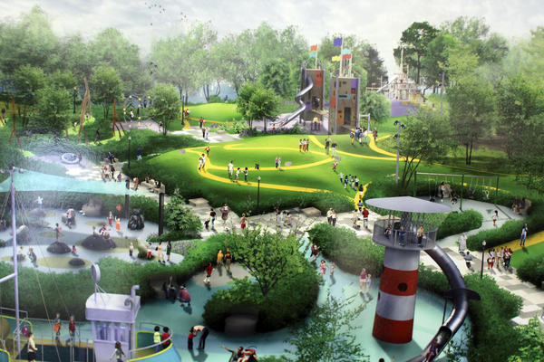 Artist rendering of planned Maggie Daley Park on display in the Chicago Cultural Center.