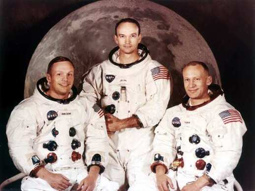 "Astronauts Neil Armstrong, left, Michael Collins and Edwin A. ""Buzz"" Aldrin in their Apollo 11 crew portrait. Armstrong was the mission commander. He and Aldrin landed on the moon on July 20, 1969."