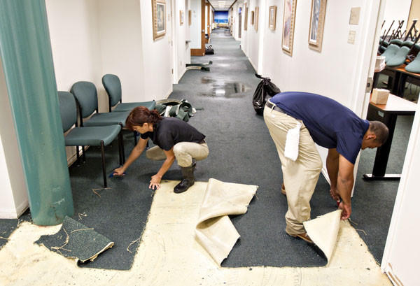 Sarah Matthews, left, and James Harrison, employees of Peerless carpet and restoration services, remove carpets at Virginia Living Museum in Newport News on Saturday. Water from Deer Park Lake flooded over the floodgates and damaged lower level of the museum, which closed on Saturday, Sunday and Monday.
