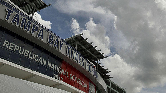 Clouds gather over the Tampa Bay Times Forum, site of the Republican National Convention, as Tropical Storm Isaac approaches. Monday's planned convention activities have been canceled, but the rest of the week's schedule will continue mostly as planned.