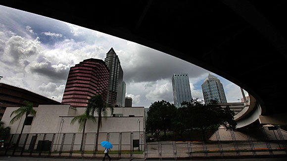 Downtown Tampa, Fla., was beginning to show signs of the approaching Republican National Convention.