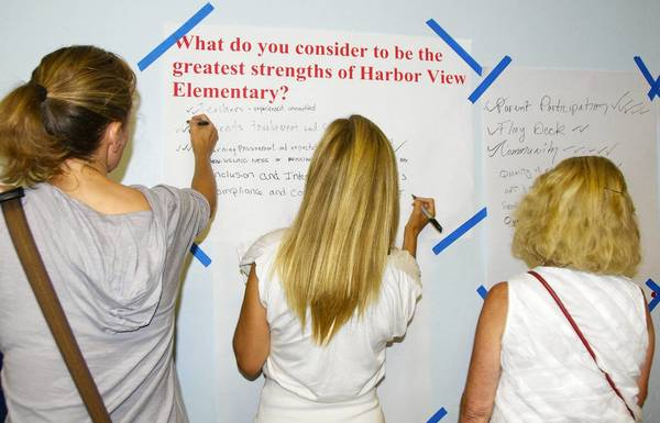 A group of parents and teachers met with district officials to express their thoughts on Harbor View Elementary School and what they want to see in a new principal.