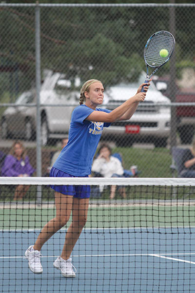 Aberdeen Central senior Kate Allen volleys a winner at the net during a No. 3 doubles match against Watertown on Saturday at the Jim Holweda Jamboree in Brookings. Brookings Register Photo