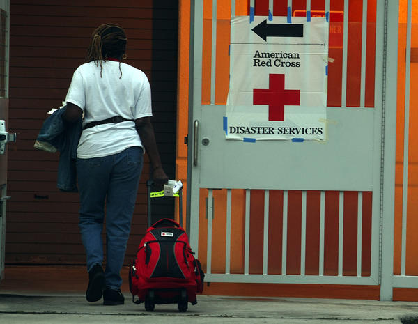 Red Cross Volunteer Luvenia Allen shows up at Rock Island Elementary School in Ft. Lauderdale with her bags packed.  The Red Cross has opened a shelter at the school.