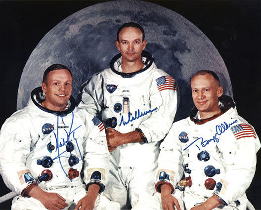 Neil Armstrong, left, the commander of the July 1969 flight to the moon, appears with Michael Collins and Buzz Aldrin in NASA's Apollo 11 crew portrait. Armstrong, an Ohio native, obtained his pilot's license on his 16th birthday, before he had earned his driver's license.