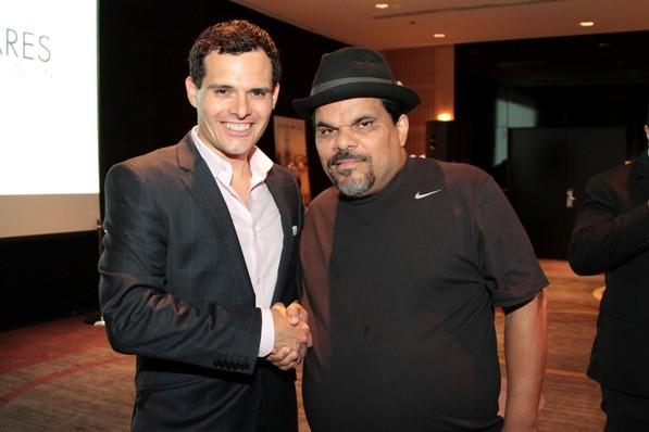 Actor Luis Guzman (right) and WGN News' Dan Ponce (left) at the Maestro Cares Foundation's fundraiser at Sofitel Chicago Water Tower August 20, 2012.