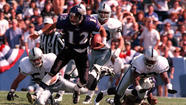 "<strong>Sept. 1, 1996:</strong> Quarterback Vinny Testaverde pumps his fist and an announced record football crowd (64,124) at Memorial Stadium whoops it up as the fledgling Ravens win their opener, 19-14 over the Oakland Raiders. ""To come from behind, in front of a full house, it probably doesn't get much better than this,"" says Ted Marchibroda, coach of the first-year team. ""It's a shame we have to play 15 more."""