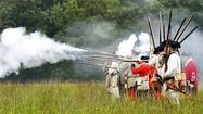 Before a Sunday afternoon thunderstorm caused Fort Frederick State Park to cancel the remainder of its French and Indian War Muster weekend, visitors got to witness one battle re-enactment outside the stone fort.