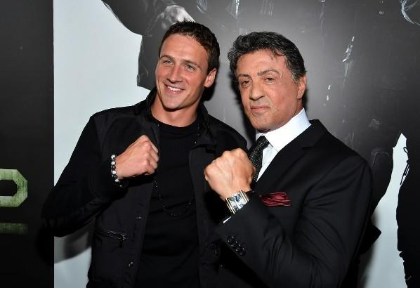 "Swimmer Ryan Lochte (left) and actor Sylvester Stallone (right) at ""The Expendables 2"" premiere August 15, 2012 in Hollywood."