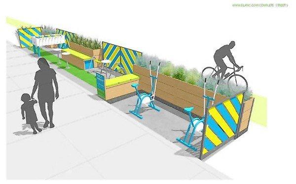An illustration of a parklet proposed for Spring Street in downtown Los Angeles.