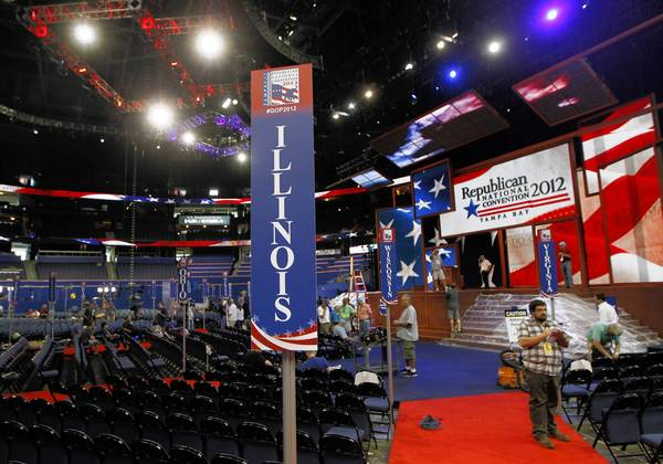 Seating for the Illinois GOP delegation is set up close the stage Saturday for the Republican National Convention, being held this week in Tampa, Fla.