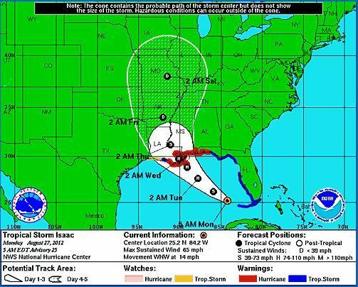 Tropical Storm Isaac's projected path as of 5 a.m. Monday, Aug. 27, 2012