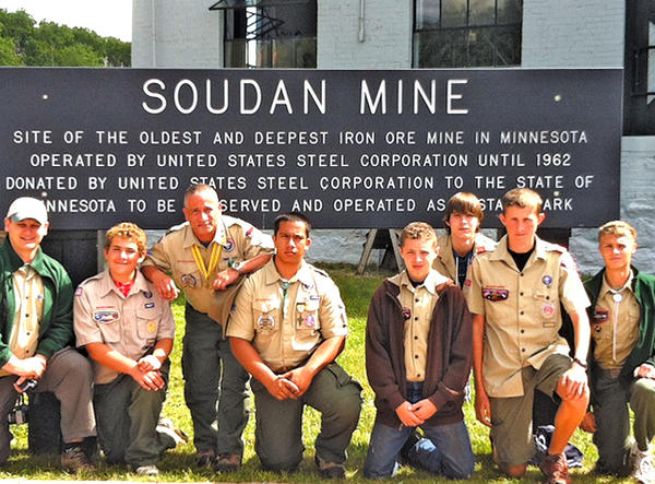 Pictured at the Soudan Mine are, from left, Stephen Koepp, Alex Fraticelli, John Navarro, J.J. Navarro, Steve Nelson, Kyle Ancell, Nick Zielinski and Randy Lohman.