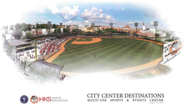 "This conceptual drawing of a proposed ""Multi-Use Sports & Events Center"" at the intersection of Summit Avenue and Baltimore Street in downtown Hagerstown wsa prepared by HKS Sports & Entertainment."
