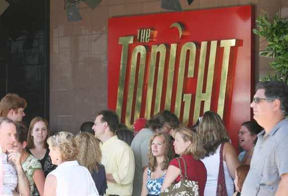 "A crowd lines up for ""The Tonight Show"" in Burbank."