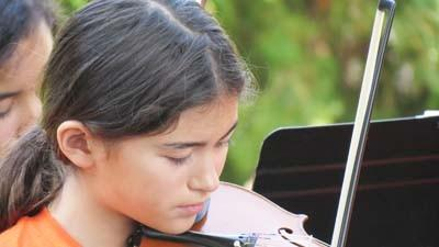 Emily Dudd, a member of the Chamber Orchestra, plays the violin at a concert in the park this summer in Petoskey.