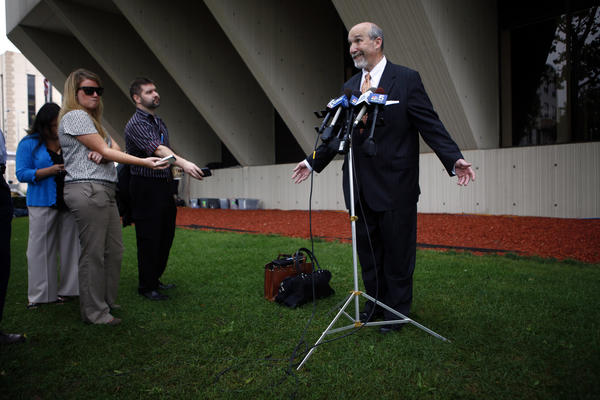 Drew Peterson's defense attorney Joel Brodsky talks to reporters outside the Will County Courthouse in Joliet today. The prosecution is expected to rest and the defense to begin calling witnesses in Peterson's trial for the murder of his third wife Kathleen Savio.