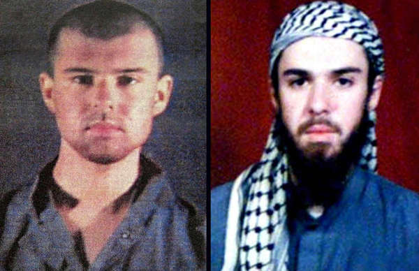 "Undated handout photos of ""American Taliban"" John Walker Lindh. Photo at left was made available Feb. 6, 2002, by the Alexandria, Va.'s Sheriff's Department. Photo at right is from the record of an Islamic religious school in Pakistan that Walker Lindh attended."