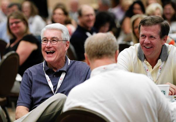 Former Illinois Gov. Jim Edgar shares a laugh during the Illinois GOP delegation breakfast on Monday at the Sheraton Sand Key Resort in Clearwater Beach, Fla. before the start of the Republican National Convention.