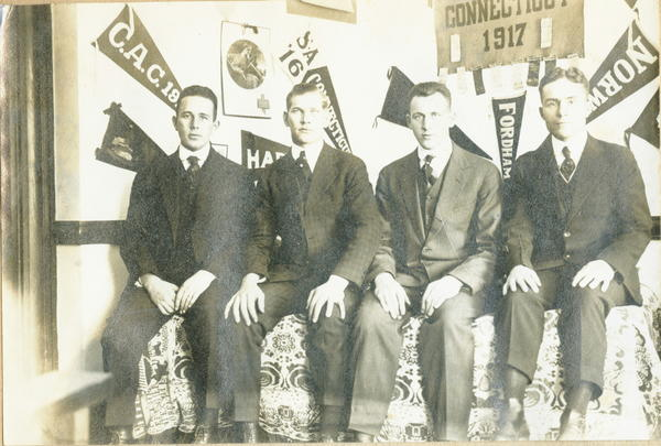 Thanks to Mike Anderson who sent these pictures of his grandfather and his roomates at what was then the Connecticut Agricultural College in 1916.