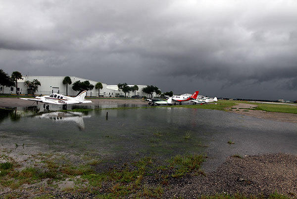 There was minimal flooding at the Fort Lauderdale Executive Airport Monday caused by Tropical Storm Isaac. There was no obvious damage, except one car that was flooded out in one of the business parks on the airport campus.