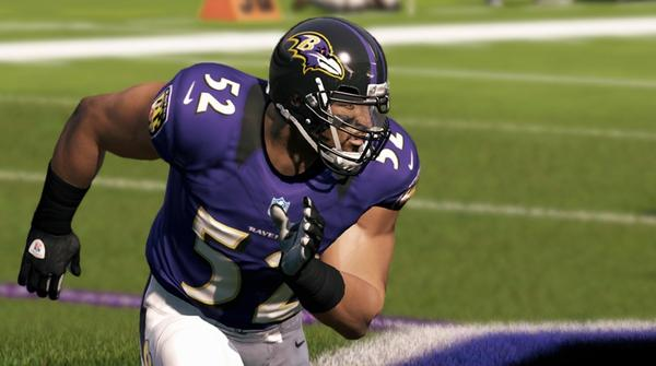 "The Ravens' Ray Lewis models the NFL's new Nike uniforms, which are featured in the crisp, sharp look of ""Madden NFL 13's"" visual palette."
