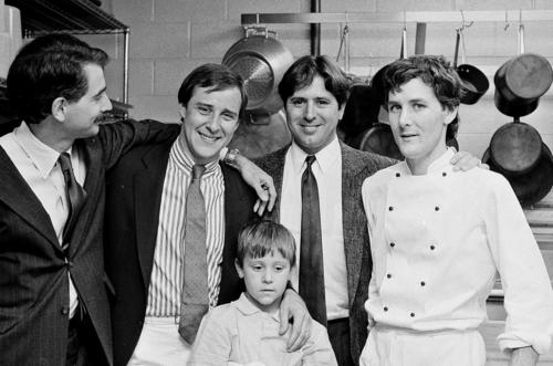 From left, Mark Rosenstein,  Bradley Ogden, Cory Ogden, Norman Van Aken and Charlie Trotter at the opening of Charlie Trotter's restaurant on August 31, 1987.