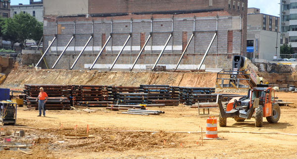 This is the arena construction site on Monday.