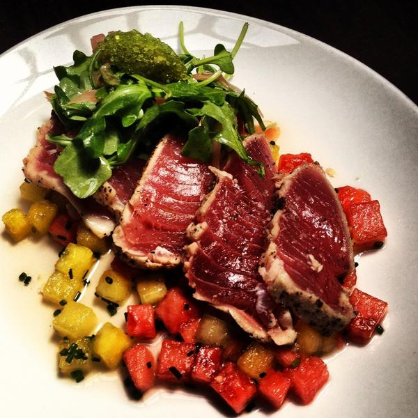 Seared yellowfin with gingered watermelon and wasabi caviar.