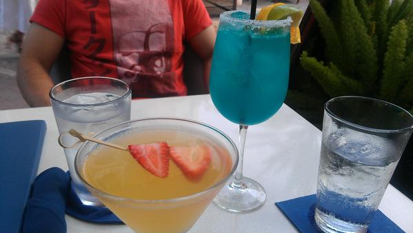 The bellini-like Italian kiss, left, and the Flame blue margarita.
