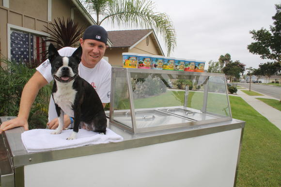 Mike Guidicianne, 34, the entrepreneur who owns and operates Orange County Slush, with his dog, Vegas.