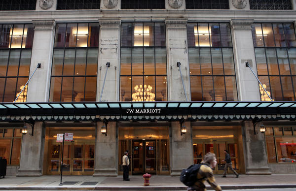 The JW Marriott Hotel at 151 W. Adams in Chicago in 2010. Eight cases of Legionnaires disease have been identified in people who stayed at the hotel between mid-July and mid-August.