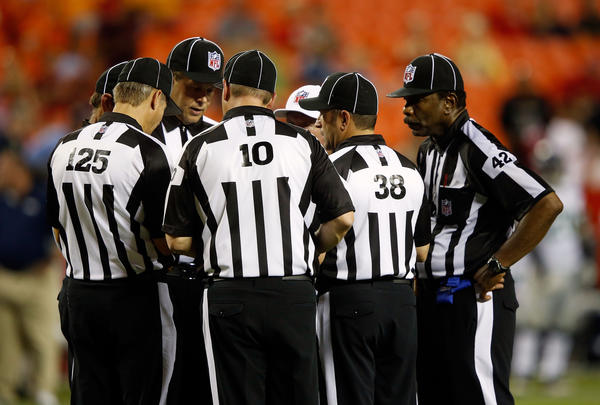 NFL replacement referees working a Seahawks-Chiefs exhibition.