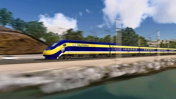 An artist's rendering of a bullet train on the California coast.