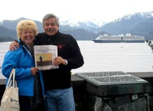 Randy and Linda Kearns are shown here atop Castle Hill in Sitka, Alaska, during one stop on their 20th wedding anniversary cruise. This cruise was previously enjoyed by them on their honeymoon.