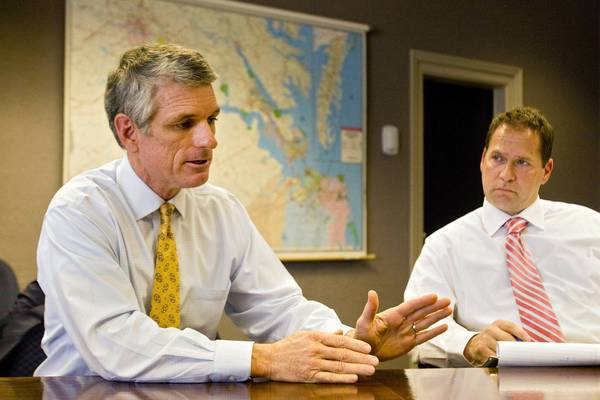 Scott Rigell (left), U.S. Representative for Virginia's 2nd Congressional District, meets with the Daily Press Editorial Board on Monday.