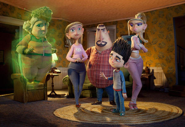 "From left, Grandma Babcock (voiced by Elaine Stritch) Sandra Babcock (voiced by Leslie Mann) Perry Babcock (voiced by Jeff Garlin) Norman (voiced by Kodi Smit-McPhee) and Courtney (voiced by Anna Kendrick) in the 3-D stop-motion film, ""ParaNorman."""