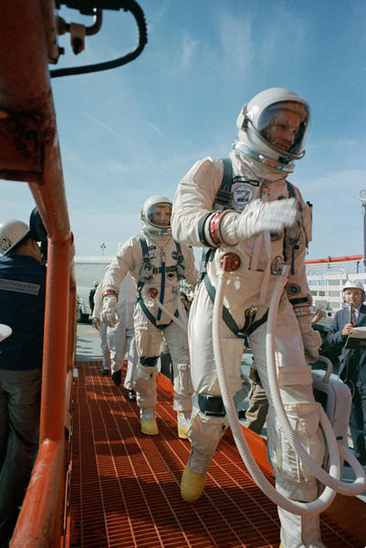 Boarding Gemini VIII Commander Neil Armstrong (right) and pilot David R. Scott prepare to board the Gemini-Titan VIII. Gemini VIII successfully launched at 11:41 a.m. EST, March 16, 1966. The mission conducted the first docking of two spacecraft in orbit and landed safely back on Earth after an emergency abort.