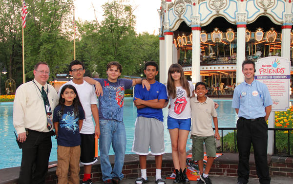 Michael Jackson's children Blanket (second from left), Prince (fourth from left) and Paris (third from right) at Six Flags Great America in Gurnee August 27, 2012.