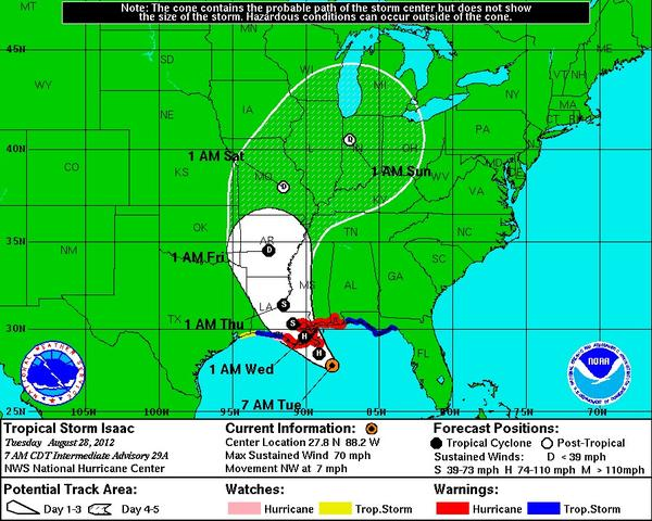 Tropical Storm Isaac is expected to strike Louisiana as a hurricane before moving across the Mississippi Valley.