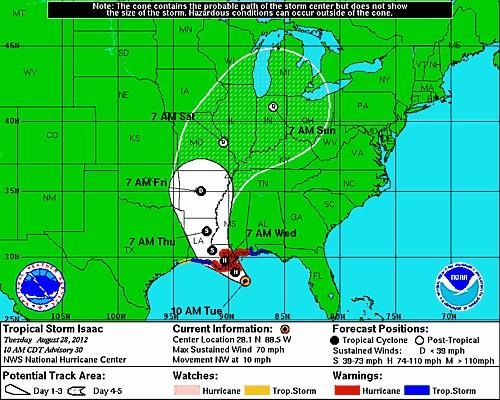 Tropical Storm Isaac is projected to hit the Louisiana shoreline near New Orleans as a hurricane either late Tuesday or early Wednesday.