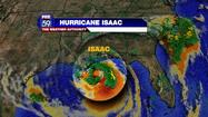 Isaac has now been upgraded to hurricane status as of 12:20 PM EDT Tuesday.  The hurricane is packing winds at 75 mph.  74 mph is the threshold to be considered a hurricane.  The central pressure has now fallen to 975 mph and the storm continues to move northwest at 10 mph towards Louisiana.