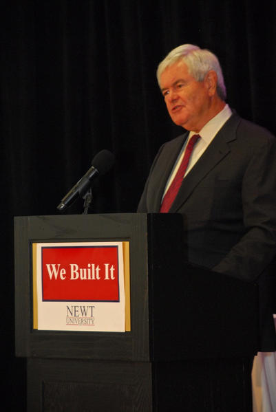 "Newt Gingrich kicks off second day of ""Newt U"" with a jab at President Obama."