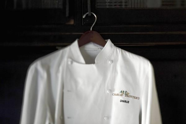 A coat worn years ago by Charlie Trotter at his restaurant in Chicago.