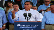 Mitt Romney arrived Tuesday at the condensed Republican National Convention in Tampa as organizers kept a nervous eye on Hurricane Isaac churning toward Louisiana's coast.