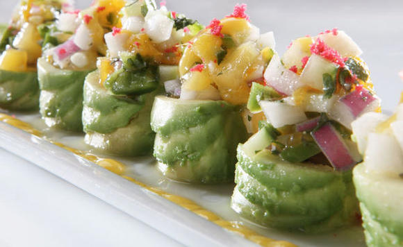 RA Sushi, located in The Glen, captivates the taste buds with its Pacific Roll ¿ tuna, cilantro, jalapeño and cucumber rolled and topped with avocado and mango salsa, and finished with red beet tempura bits and sautéed cashew nuts.