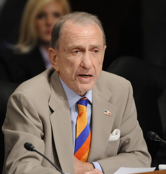 Senator Arlen Specter (D-PA) asks a question as U.S. Solicitor General Elena Kagan testifies during her second day before the Senate Judiciary Committee hearing for her nomination to be an associate justice of the Supreme Court, Tuesday, June 29, 2010 in Washington, DC.