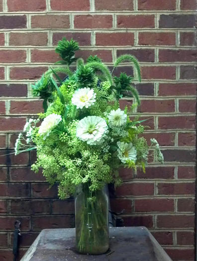 Backyard flower arrangement created by Kristen Pritchard of Gloucester.