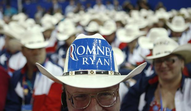 Clint Moore and the rest of Texas delegation display their cowboy hats at the Republican National Convention in Tampa, Fla.